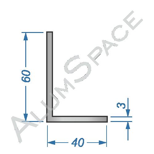 Алюминиевый уголок разносторонний 60х40х3