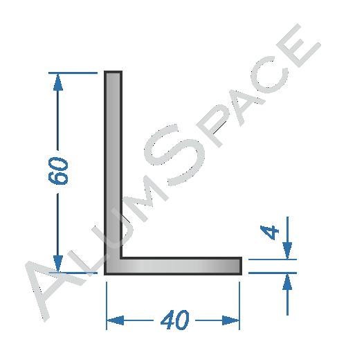 Алюминиевый уголок разносторонний 60х40х4