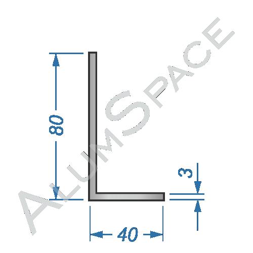 Алюминиевый уголок разносторонний 80х40х3