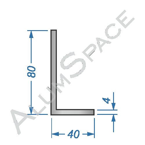 Алюминиевый уголок разносторонний 80х40х4 Анод