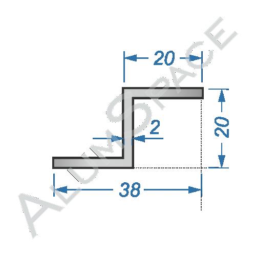 Алюминиевый профиль Z-образный 20х20х2