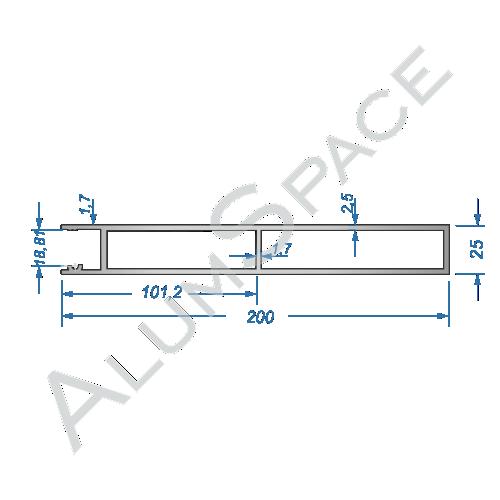 Бортовой алюминиевый профиль — планка верхняя — 200 мм — Анод