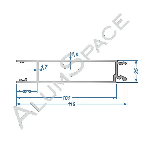 Бортовой алюминиевый профиль — средняя планка — 100 мм — Анод