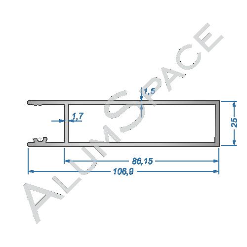 Бортовой алюминиевый профиль — верхняя планка — 100 мм — Анод