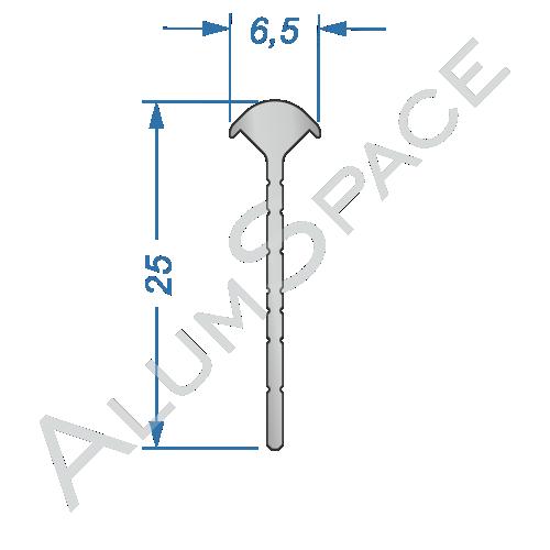 Профиль облицовочный для углового соединения под 45° 25мм х 6,5мм х 2.7м, анод